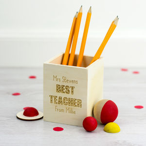 Personalised Best Teacher Pen Pot - new in home