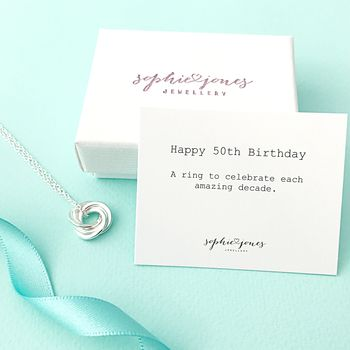 50th Birthday Silver Necklace