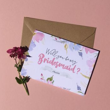 Personalised Floral Will You Be My Bridesmaid Card