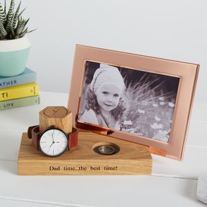 Personalised Bedside Watch Stand With Photo Frame - 70th birthday gifts