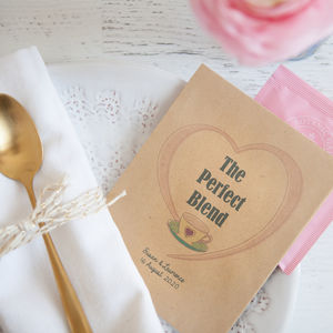 10 'The Perfect Blend' Personalised Tea Packet Favours - wedding favours