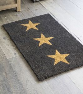 Charcoal Three Stars Doormat - rugs & doormats