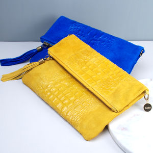 Personalised Leather Tassel Clutch Bag - fashion sale