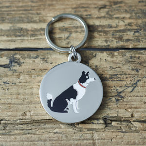 Border Collie Dog ID Name Tag - winter sale