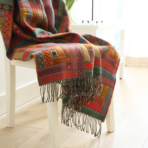 Red Green Merino Wool Throw Marta - bedroom