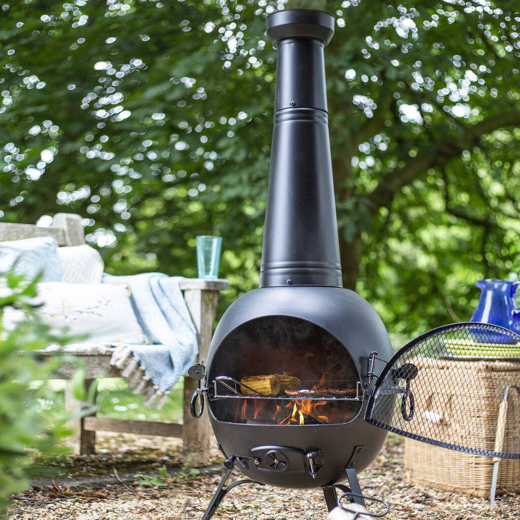 Black Steel Extra Large Chiminea With Grill