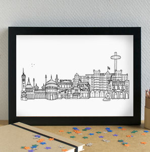 Brighton Landmarks Skyline Art Print - architecture & buildings