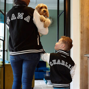 Personalised Mama And Child Varsity Jacket Set