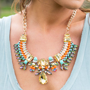 Crystal Collection Turquoise Statement Necklace - party wear & accessories
