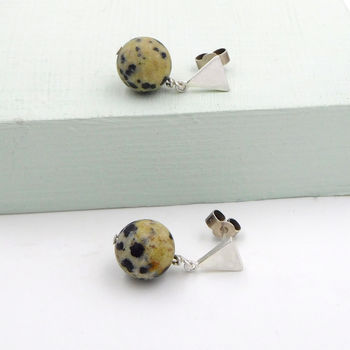 Silver Triangle And Gemstone Studs