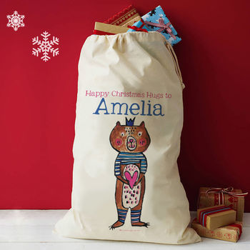Personalised Christmas Bear Hugs Sack