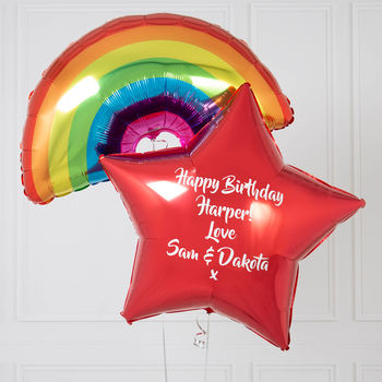 Inflated Rainbow Bright Birthday Gift Balloons