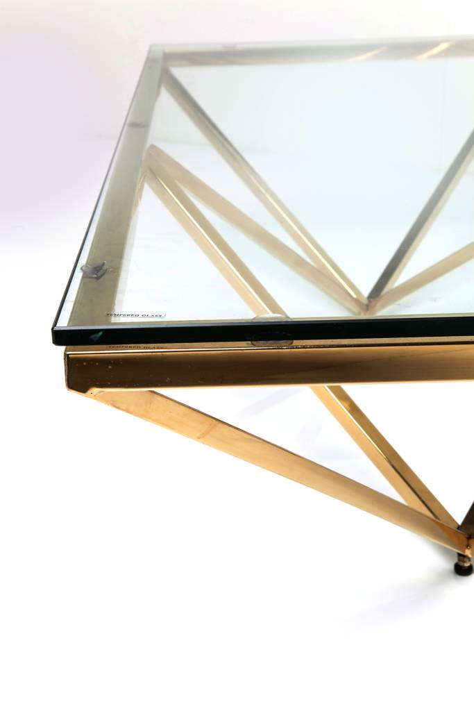 art deco brass square glass coffee table by i love retro. Black Bedroom Furniture Sets. Home Design Ideas