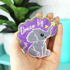 Elephant Embroidery Kit, Sewing Kit, Embroidered Patch