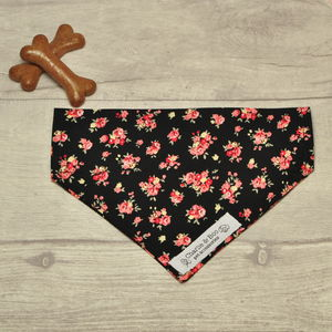 Pink And Black Floral Dog Bandana For Girl Or Boy Dogs