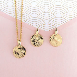 Gold Disc Necklace And Earrings Set - earrings