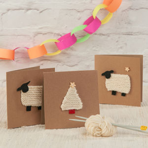 Knitted Christmas Cards 'Learn To Knit' Kit - cards & wrap