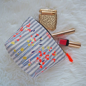 Wildflower Embroidered Striped Ticking Make Up Bag - make-up & wash bags