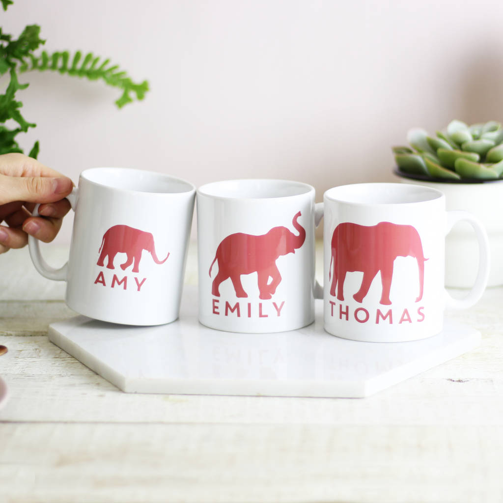 Personalised Elephant Family Mug Set