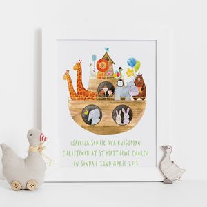Noah's Ark Christening Gift Print - children's room