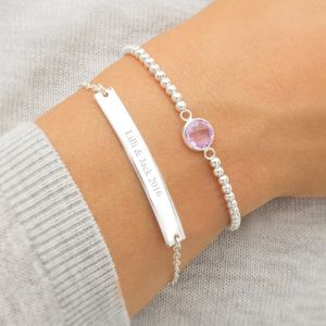 Personalised Bar And Birthstone Bracelet Set - personalised gifts