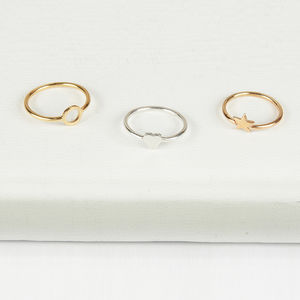 14ct Gold Star, Heart Or Circle Shape Ring