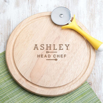 Personalised 'Head Chef' Round Chopping Board
