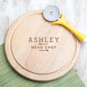Personalised 'Head Chef' Round Wood Chopping Board - new in home