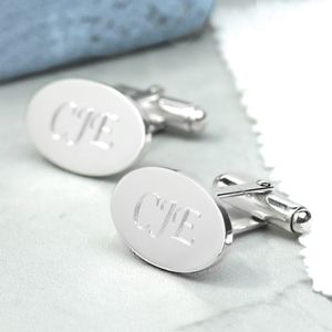 Personalised Silver Oval Hinged Cufflinks - mens