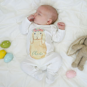 Personalised Flower Crown Bunny Baby Sleepsuit