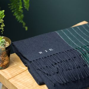 Monogrammed Navy To Green Winter Wool Scarf