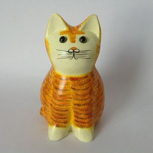 Wooden Cat Figurine In Ginger Colour Pd6