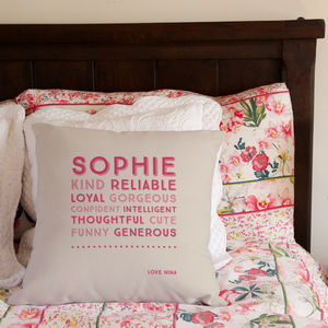 Personalised Traits Cushion - bedroom