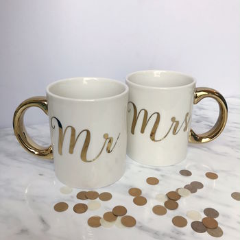Mr And Mrs Gold Mug