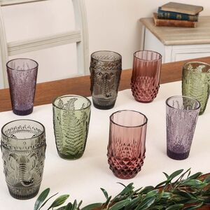 Set Of Four Luxury Embossed Coloured Hi Ball Tumblers