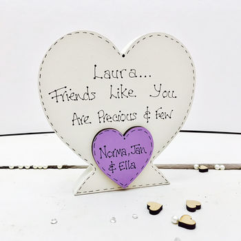 Personalised Wooden Heart For Friends