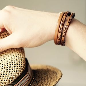 Engraved Leather And Round Buckle Bracelet - bracelets