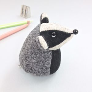 Handmade Soft Sculpture Paperweight Badger - paperweights