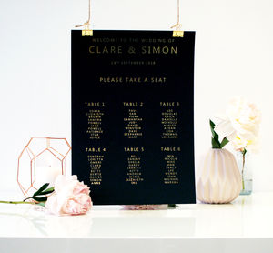 Black And Gold Wedding Seating Plan Table Plan - table plans