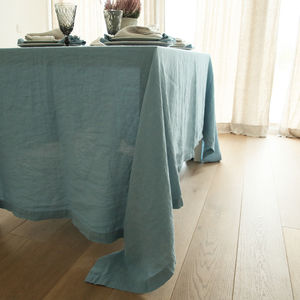 Stone Washed Taupe Linen Tablecloth - tablecloths