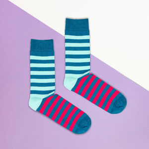 Blue And Pink Double Stripe Sock - men's fashion