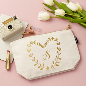 Personalised Metallic Leaf Design Make Up Bag