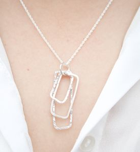 Handmade Silver Layered Rectangles Necklace