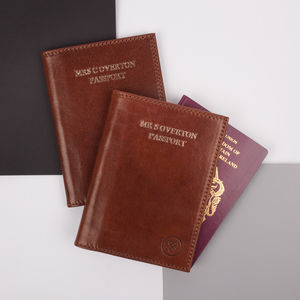 Personalised Mr And Mrs Leather Passport Holders Set - 3rd anniversary: leather