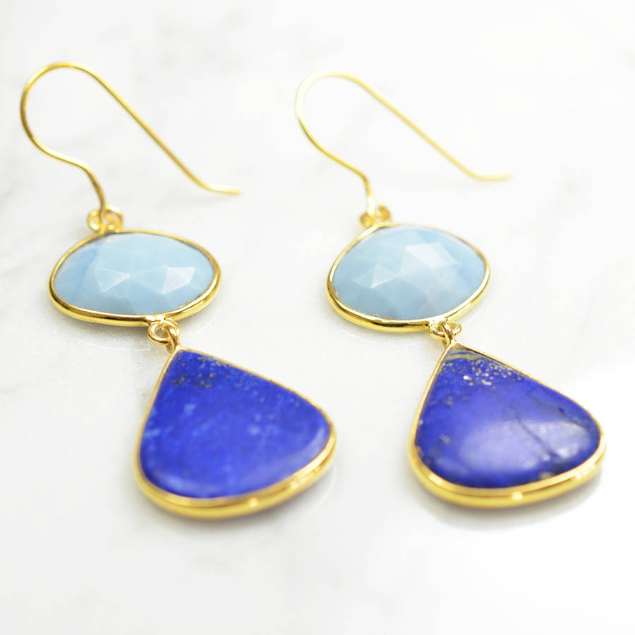 drop earring melissa pebble front clip lazuli jewellery lapis capri on gold product pearl lo earrings