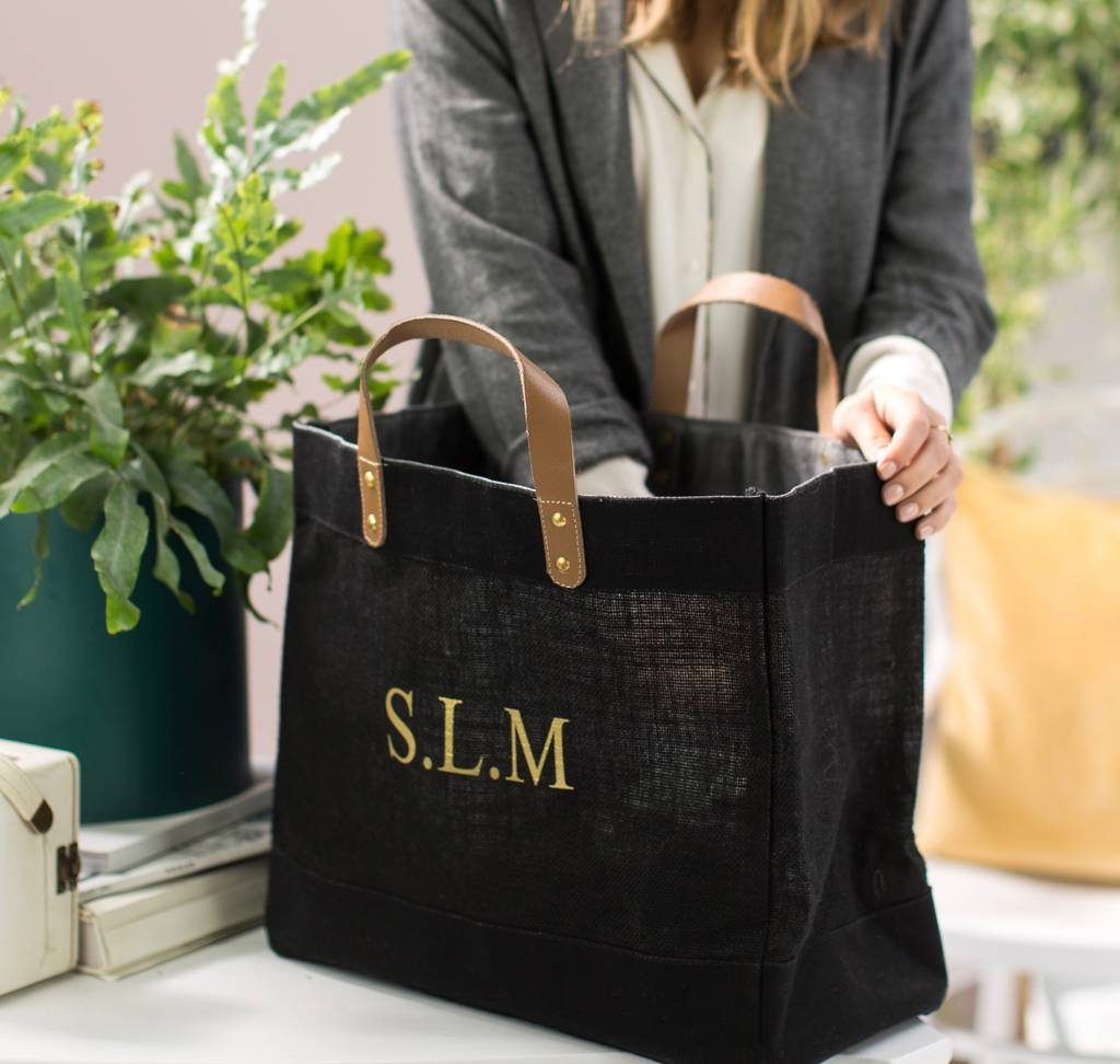 Personalised Black And Leather Jute Shopper by The Forest &Amp; Co