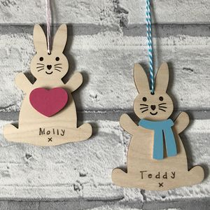 Personalised Easter Bunny With Scarf Decoration - easter decorations