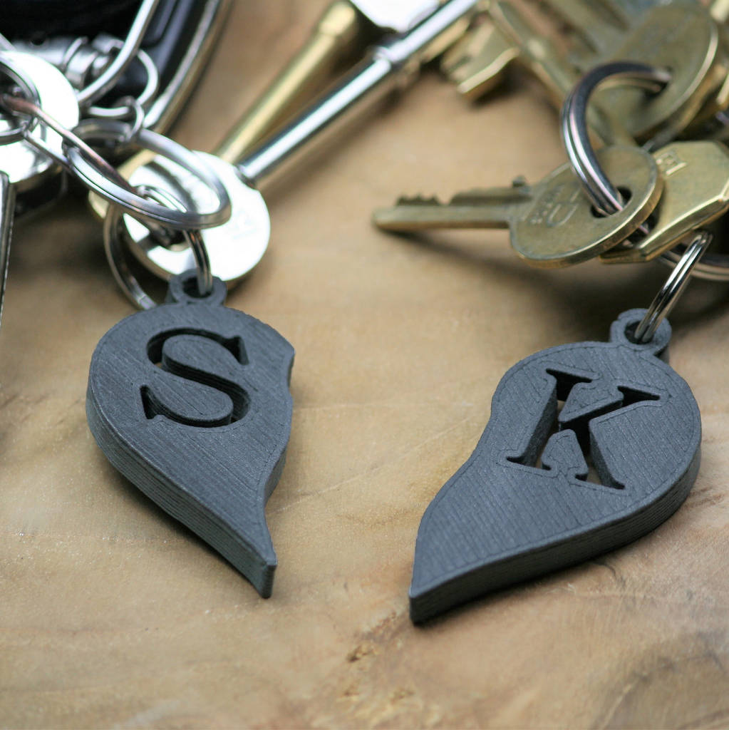 Personalised Couple's Initials Heart Key Rings By Mix