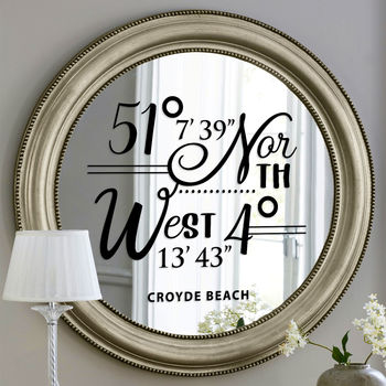 Personalised Coordinates Wall Or Mirror Sticker
