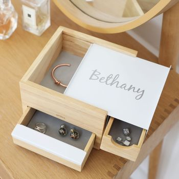 Personalised Umbra Mini Wooden Storage Box In White